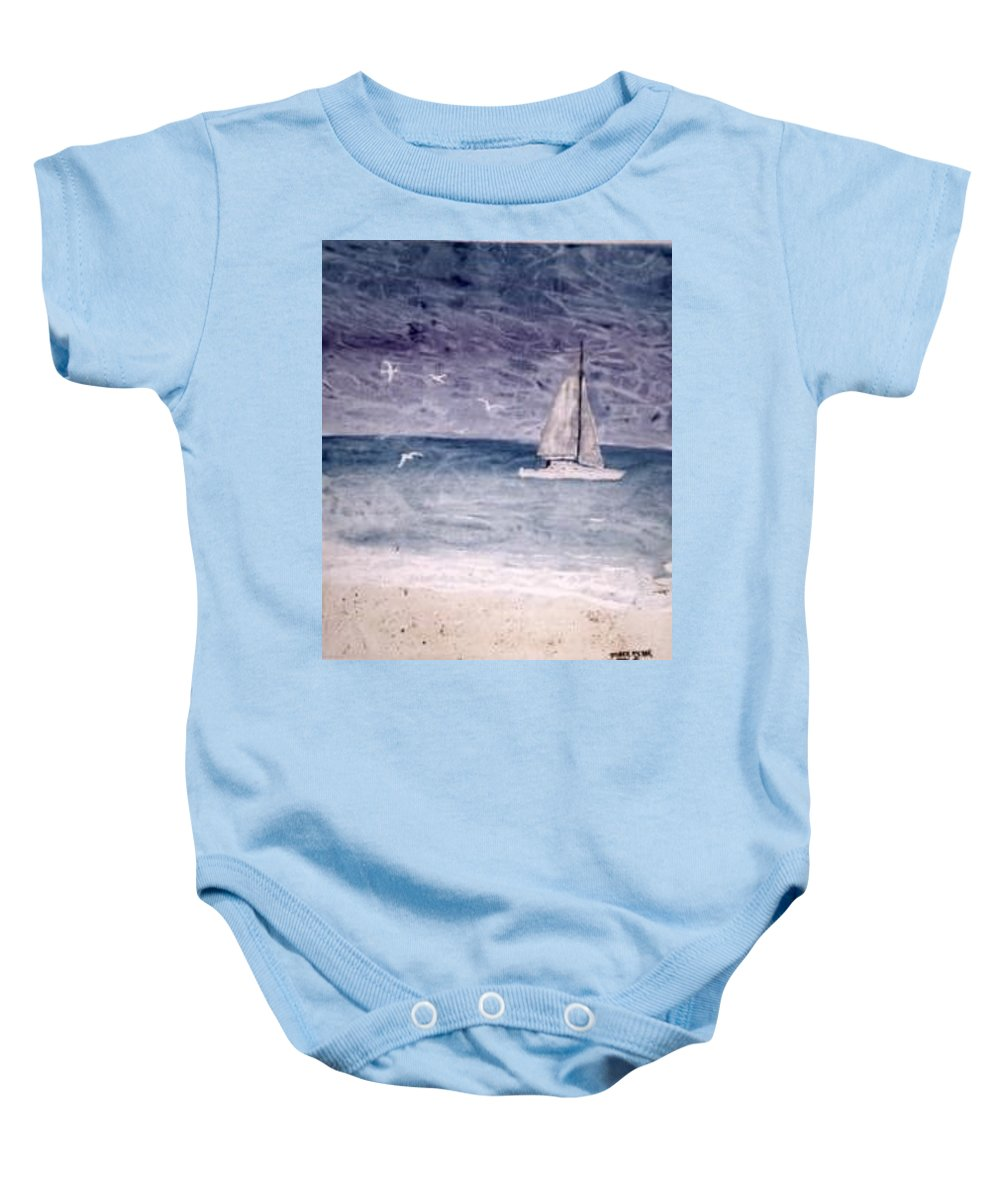 Watercolor Seascape Sailing Boat Landscape Painting Baby Onesie featuring the painting Sailing At Night Nautical Painting Print by Derek Mccrea