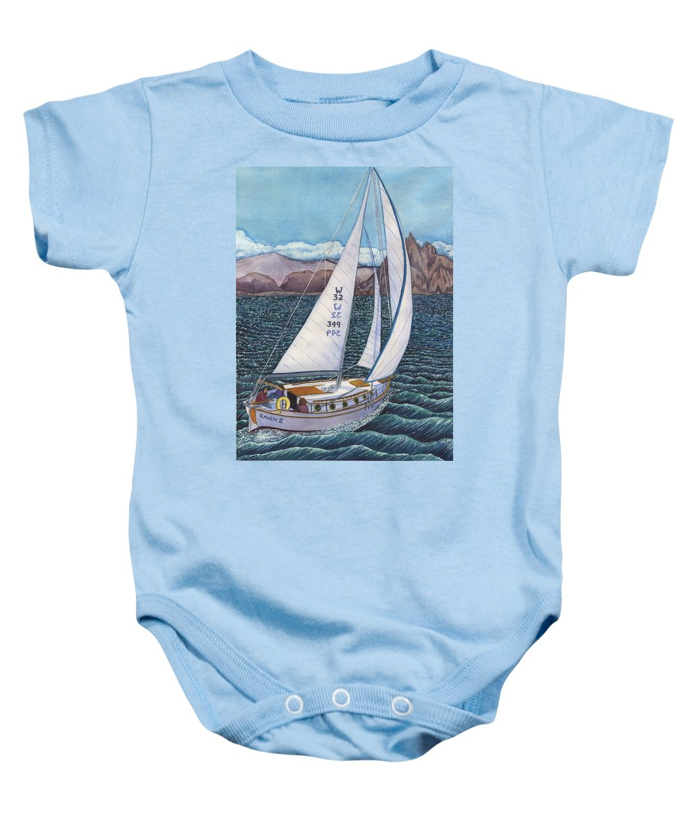 Sailboat Baby Onesie featuring the painting Sailing by Catherine G McElroy