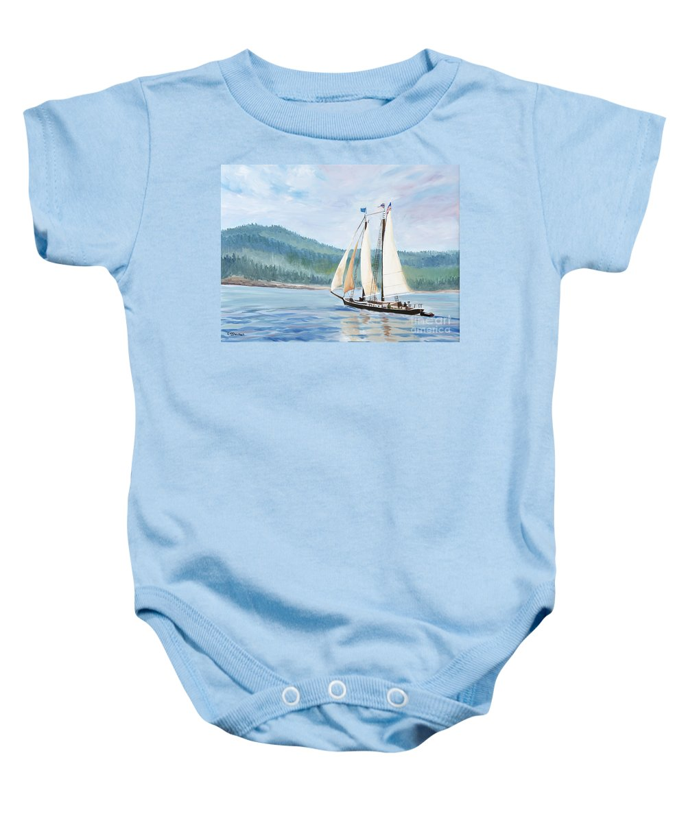 Schooner Ship Baby Onesie featuring the painting Sailing Into Castine Harbor by Stella Sherman