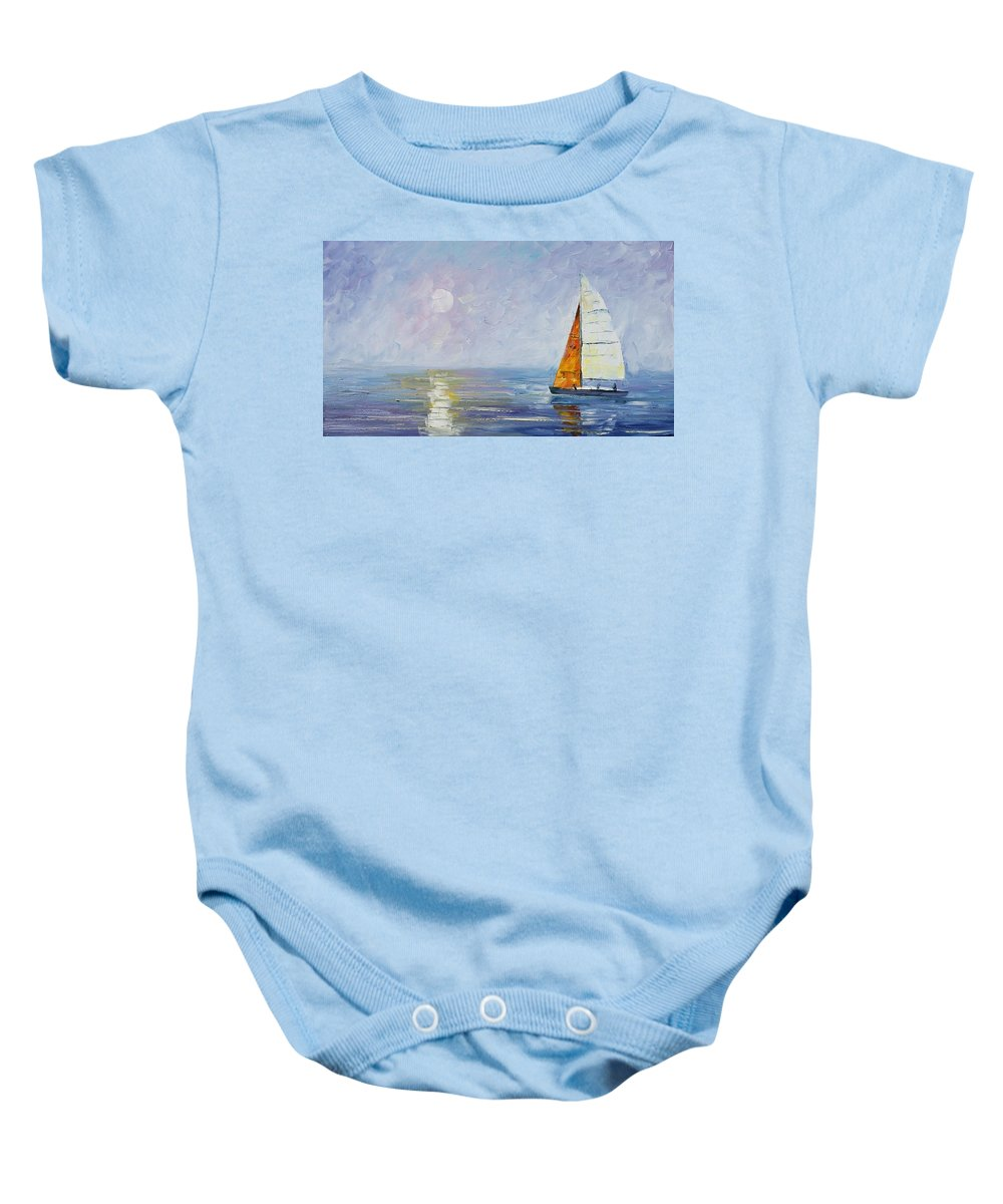 Yahct Baby Onesie featuring the painting Sailing by Leonid Afremov
