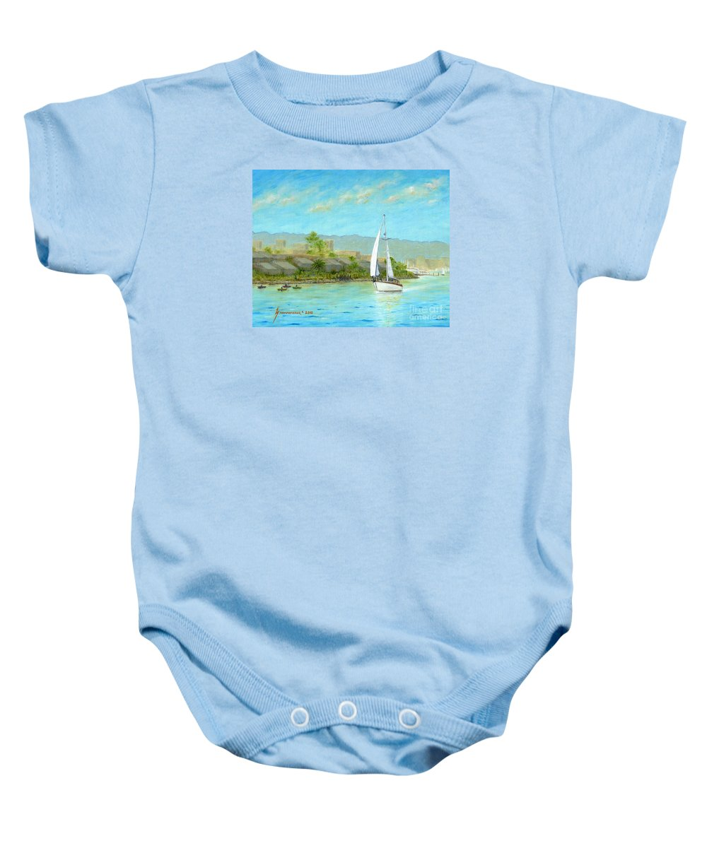 Sailing Baby Onesie featuring the painting Sailing Out To Sea by Jerome Stumphauzer