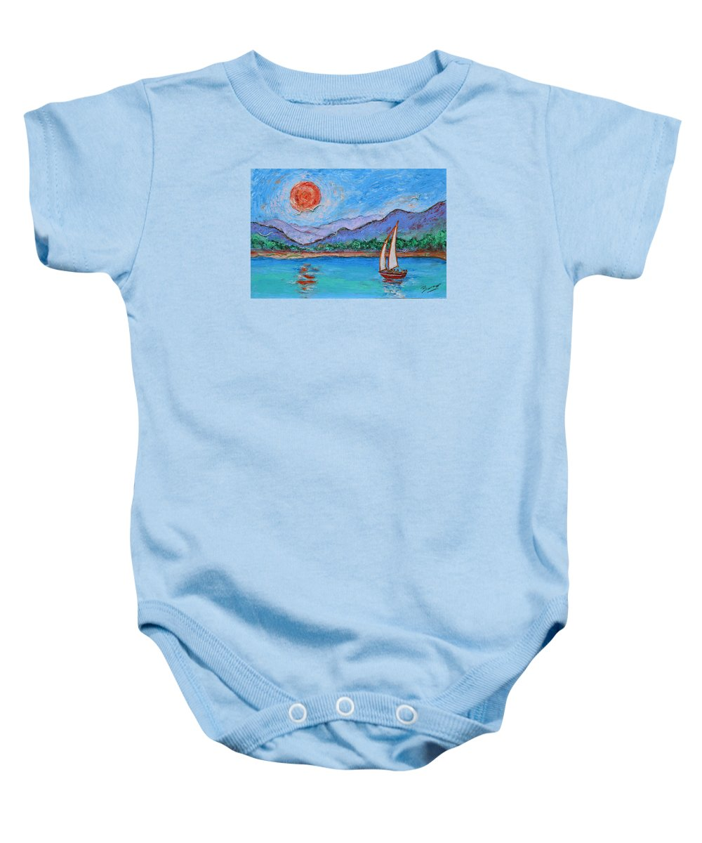 Seascape Baby Onesie featuring the painting Sailing Red Sun by Xueling Zou