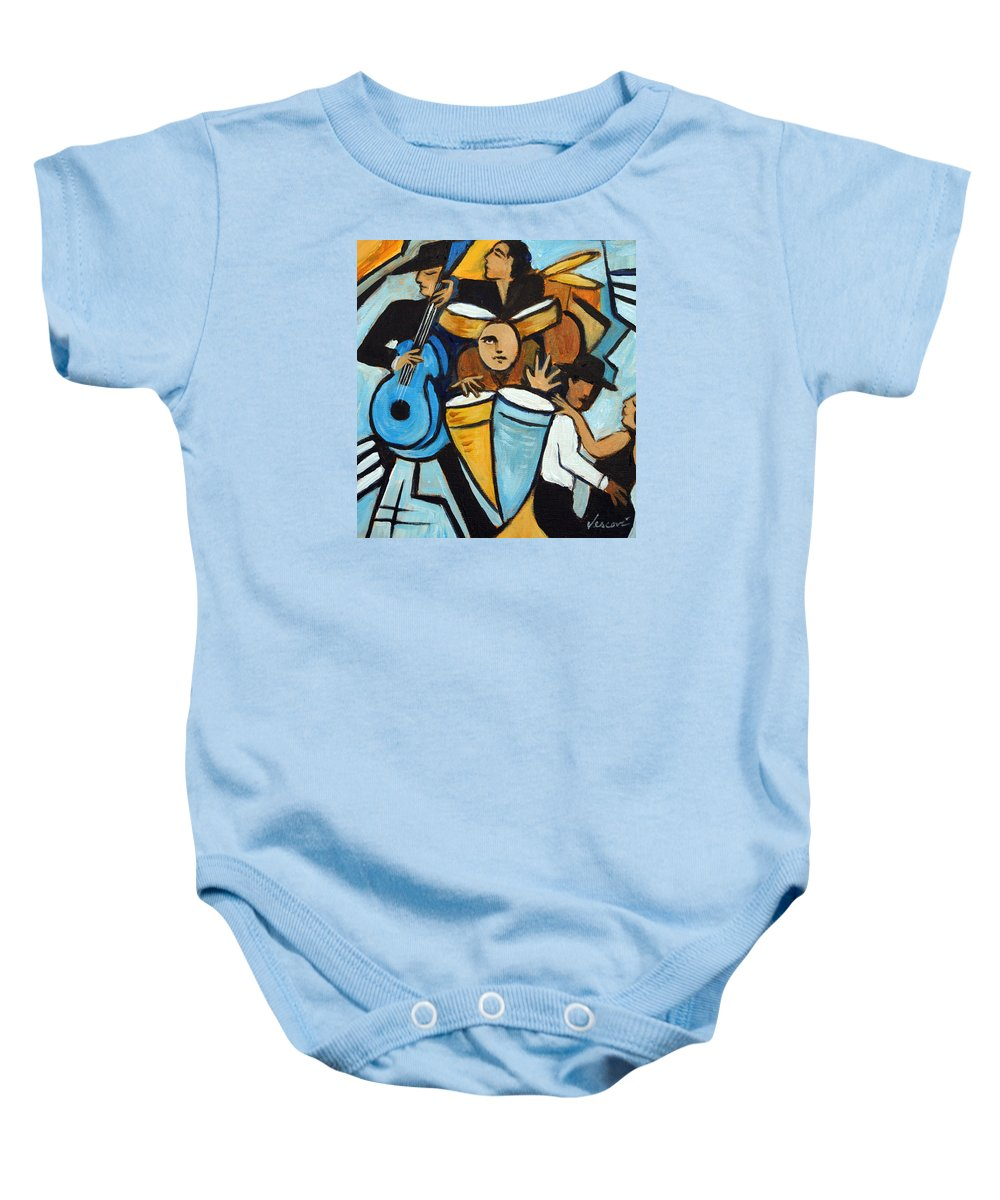 Cubist Salsa Dancers Baby Onesie featuring the painting Salsa Night by Valerie Vescovi