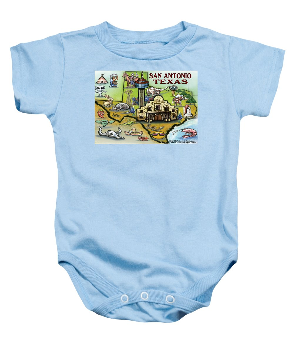 San Antonio Baby Onesie featuring the digital art San Antonio Texas by Kevin Middleton