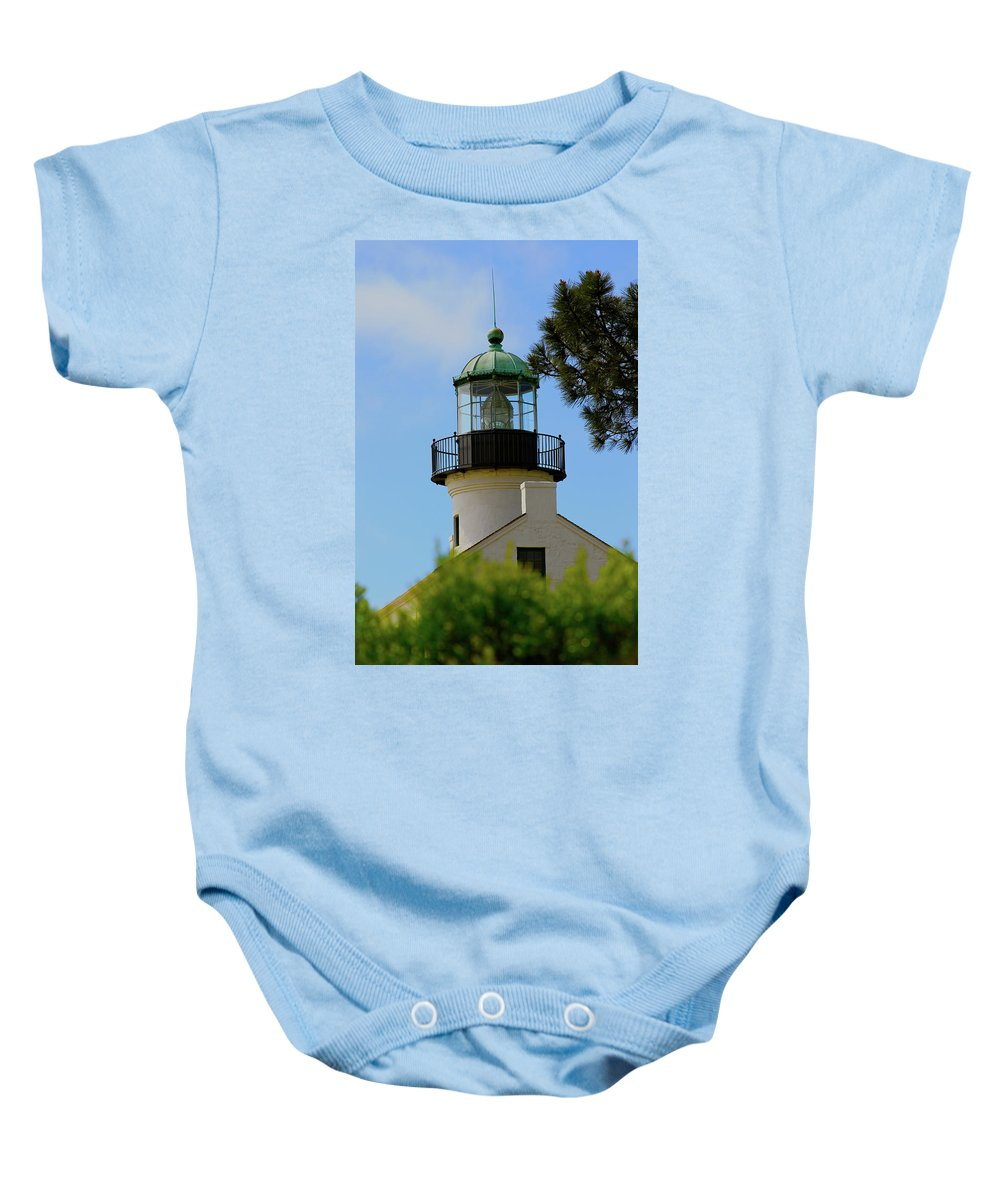 Lighthouse Baby Onesie featuring the photograph San Diego Skies by Laddie Halupa