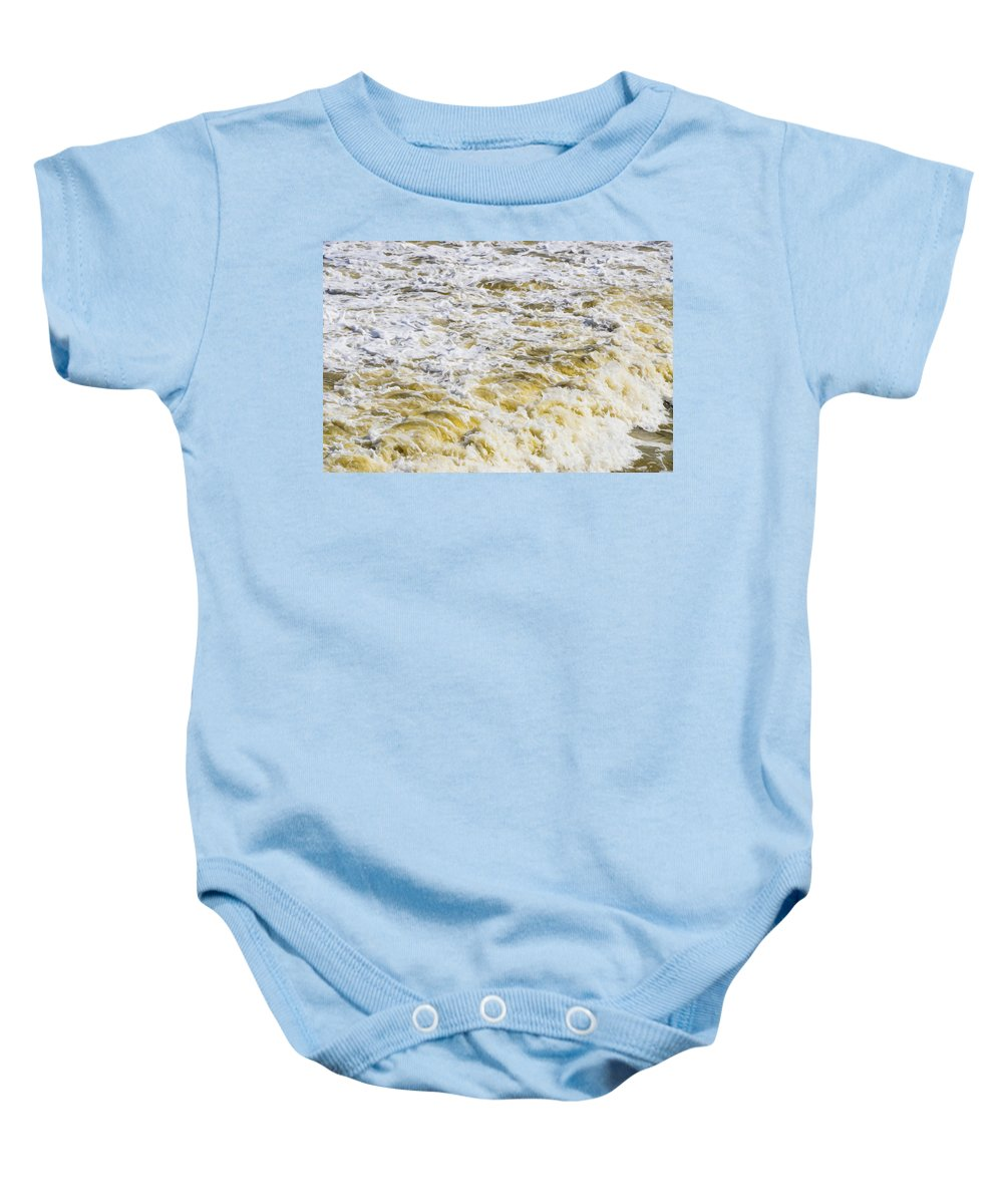 Sand Beach And Wave Baby Onesie featuring the painting Sand Beach And Wave 5 by Jeelan Clark