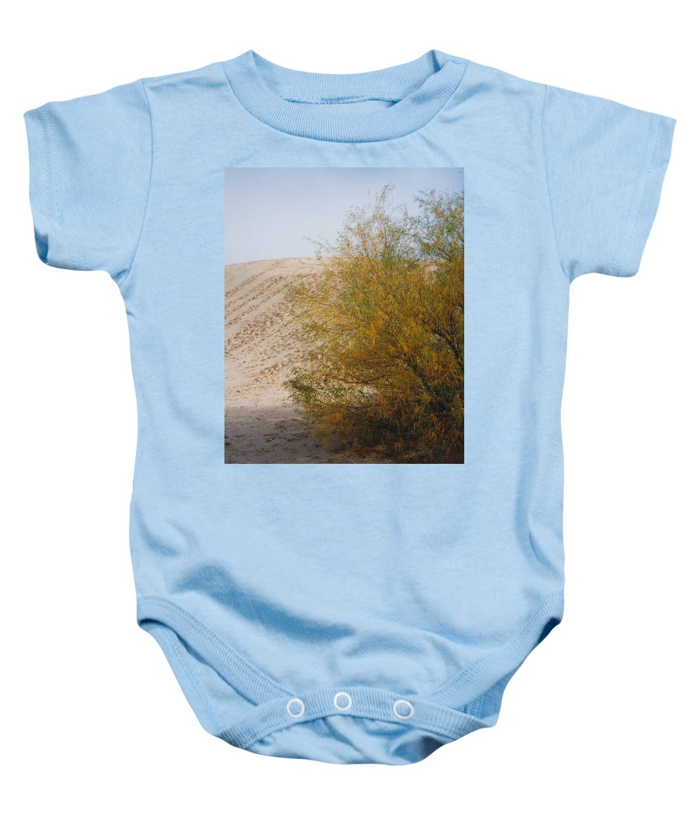 Sands Monohans Bush Trees Footprints Baby Onesie featuring the photograph Sands Of Monahans - 2 by Cindy New