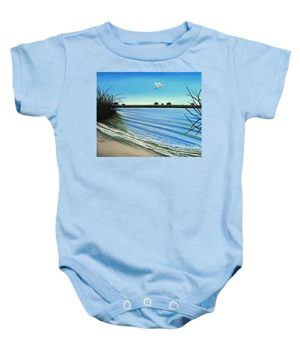 Beach Baby Onesie featuring the painting Sandy Beach by Elizabeth Robinette Tyndall