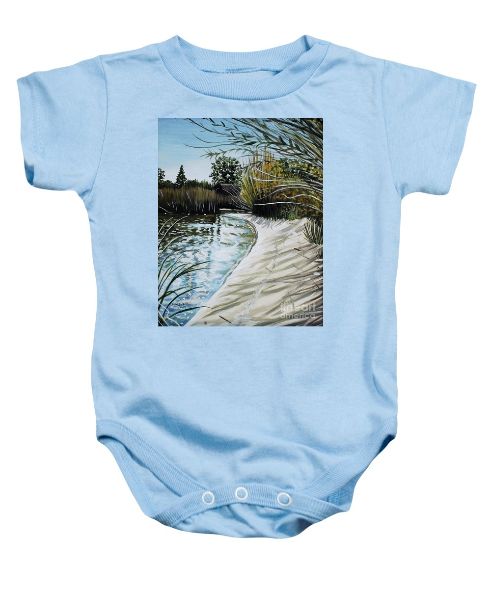 Landscape Baby Onesie featuring the painting Sandy Reeds by Elizabeth Robinette Tyndall