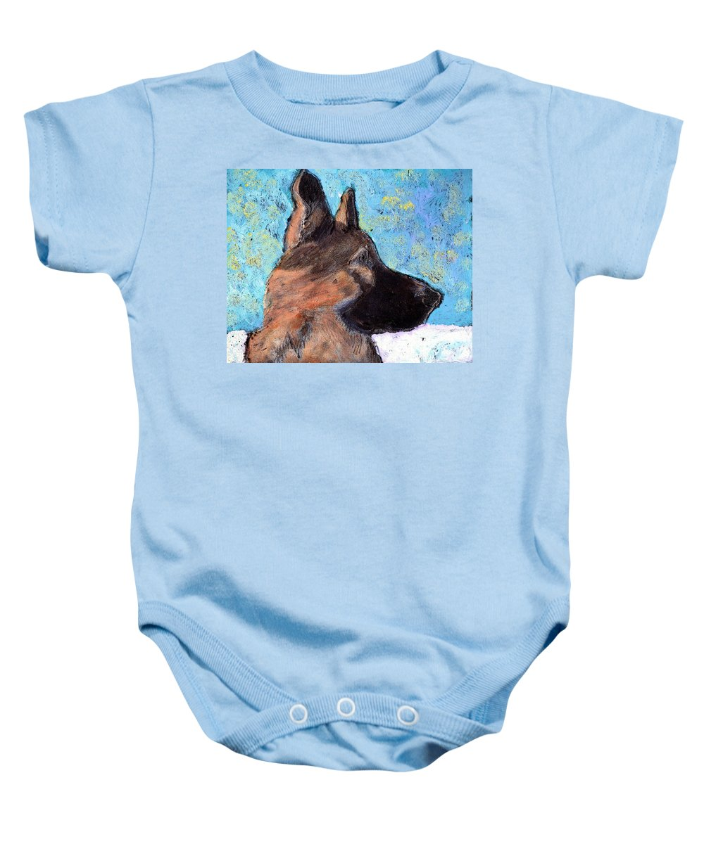 Dog Baby Onesie featuring the painting Sarge II by Wayne Potrafka