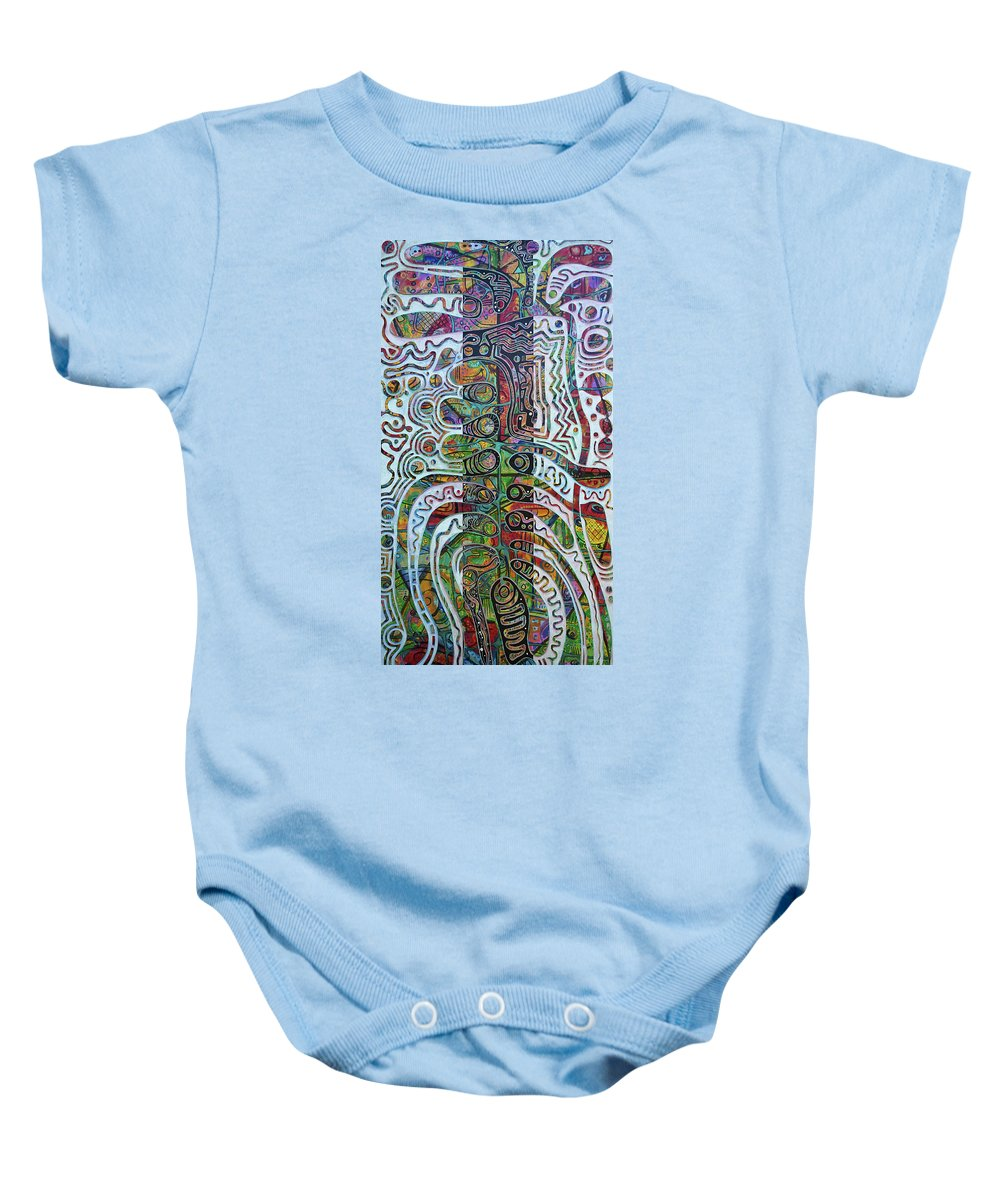 Guadeloupe Baby Onesie featuring the painting Sayam Uinicob by Jocelyn Akwaba-Matignon