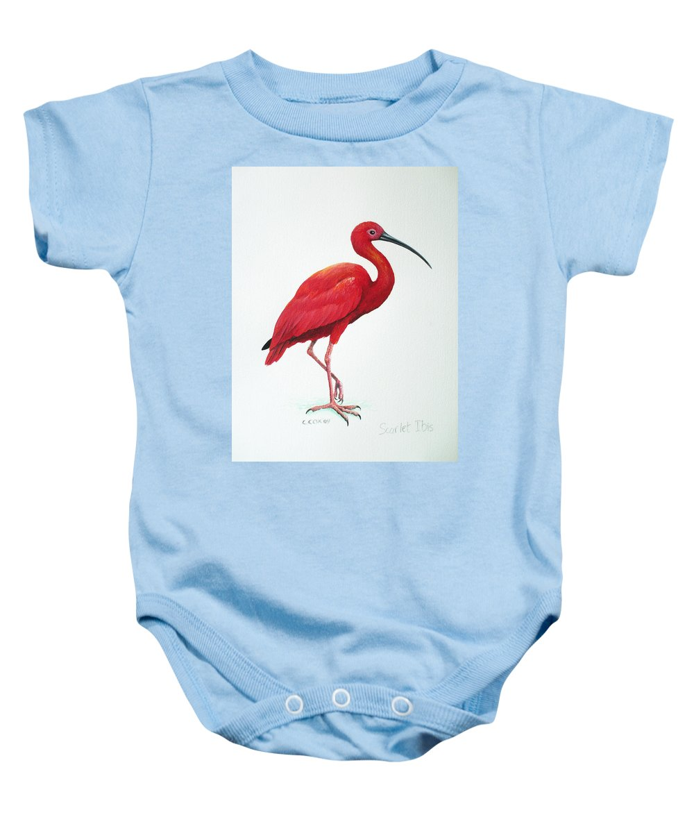 Scarlet Ibis Baby Onesie featuring the painting Scarlet Ibis by Christopher Cox