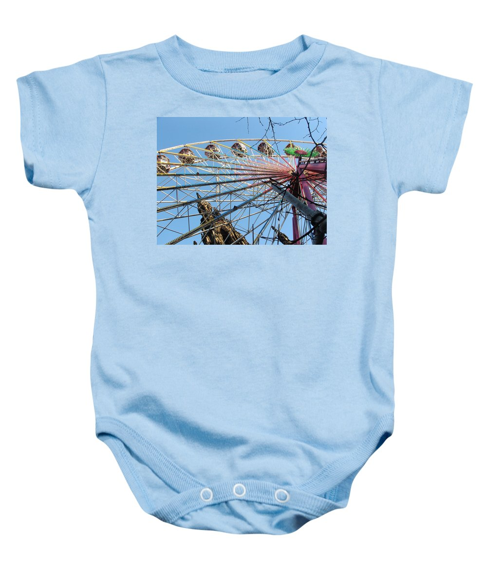 Scot Monument Baby Onesie featuring the photograph Scot Monument Edinburgh by Heather Lennox