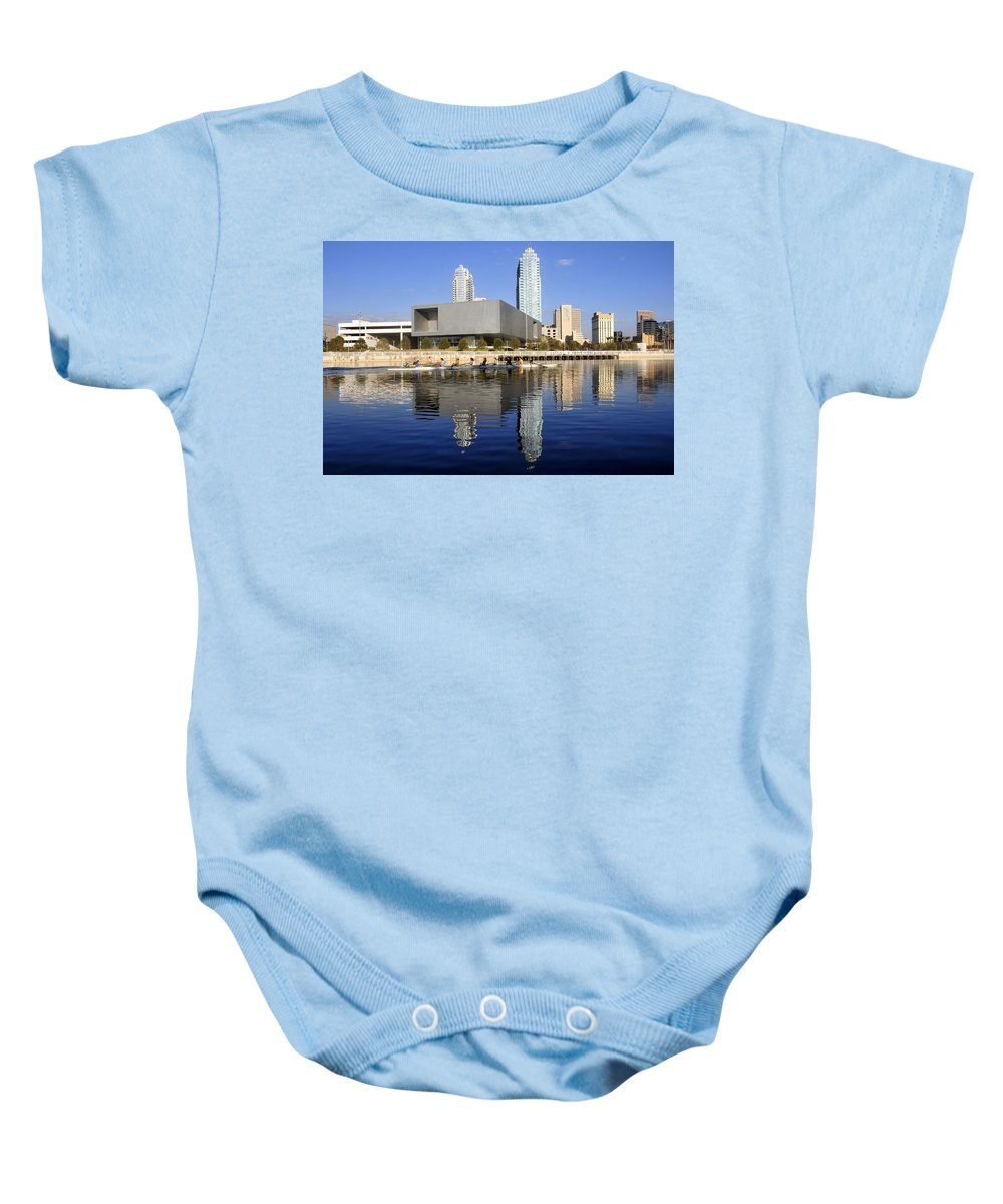 Tampa Bay Florida Baby Onesie featuring the photograph Sculling By The Tampa Bay Art Center by David Lee Thompson