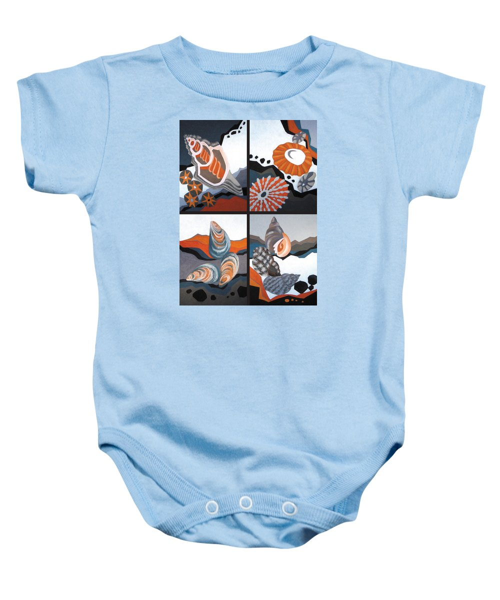 Sea Baby Onesie featuring the painting Sea Floor by Susan Lishman