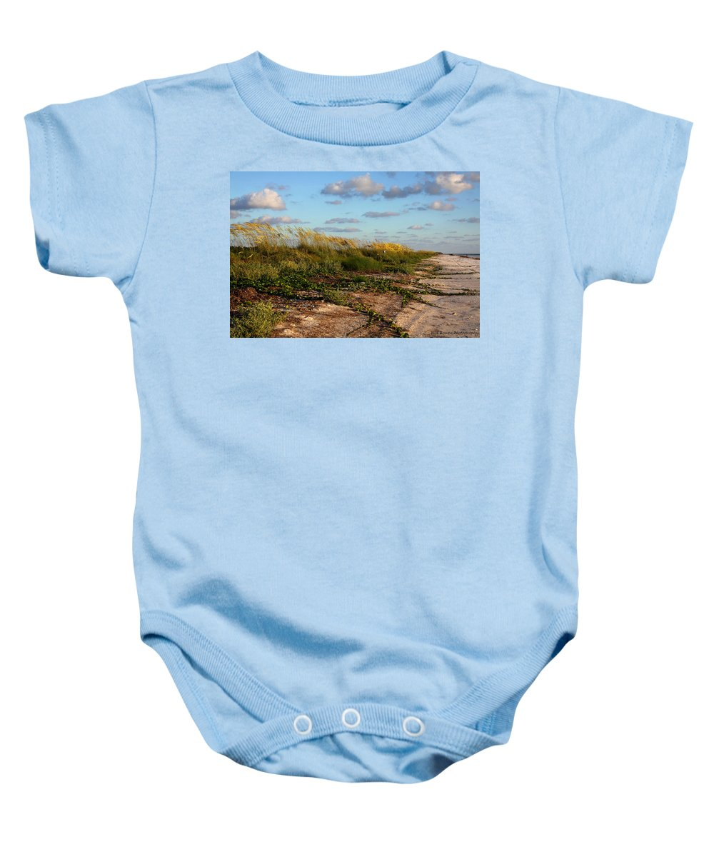 Beach Baby Onesie featuring the photograph Sea Oats Along The Beach by Barbara Bowen