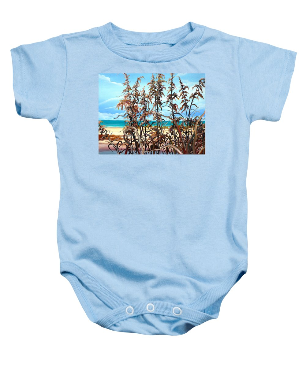 Ocean Painting Sea Oats Painting Beach Painting Seascape Painting Beach Painting Florida Painting Greeting Card Painting Baby Onesie featuring the painting Sea Oats by Karin Dawn Kelshall- Best