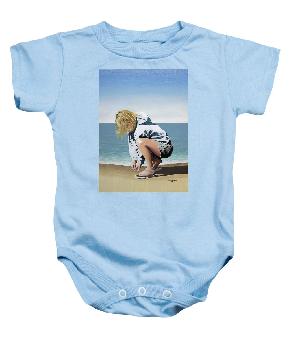 Landscape Baby Onesie featuring the painting Sea Shells On The Beach by Kenneth M Kirsch