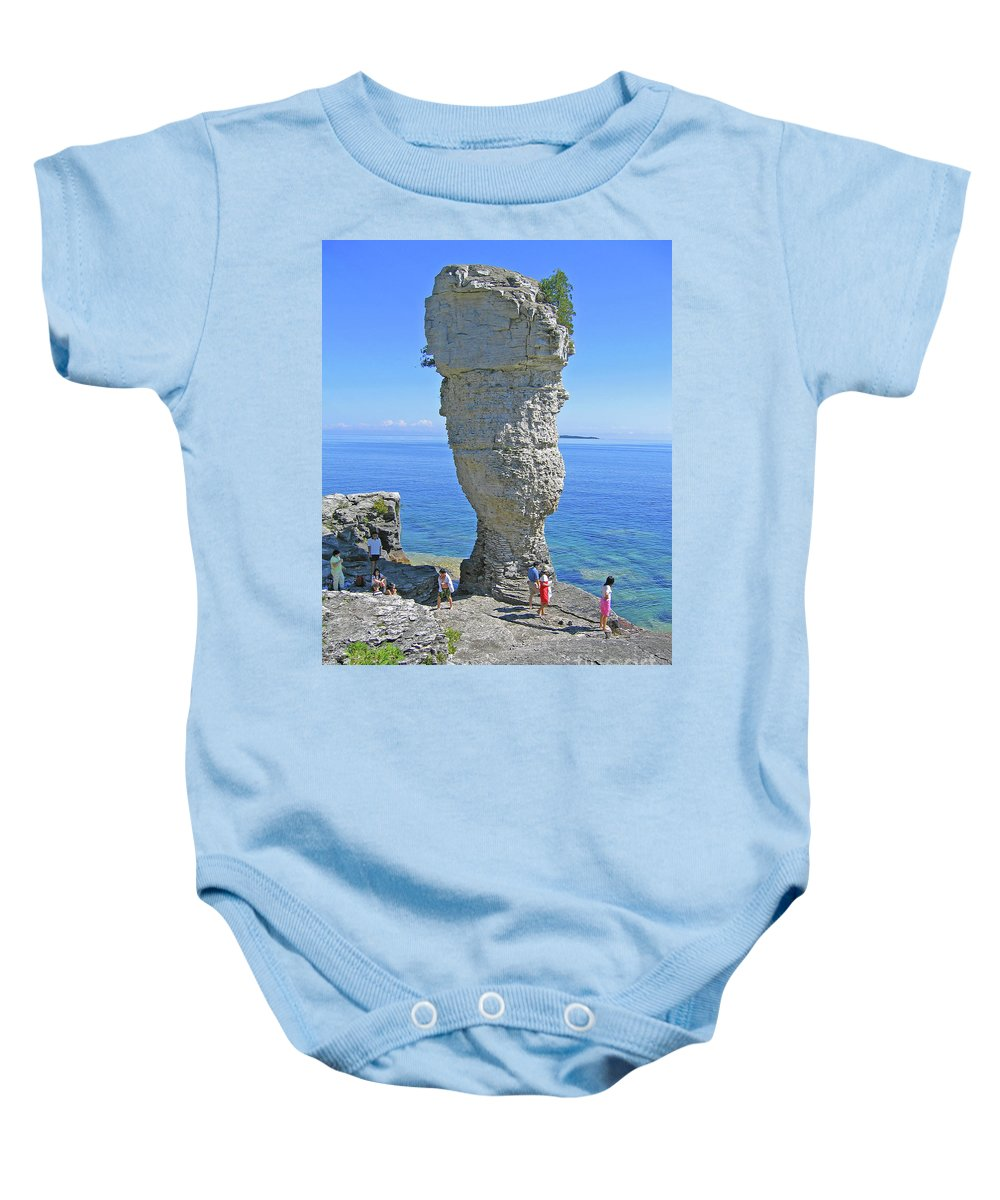 Flowerpot Island Baby Onesie featuring the photograph Sea Stack Perspective by Ann Horn
