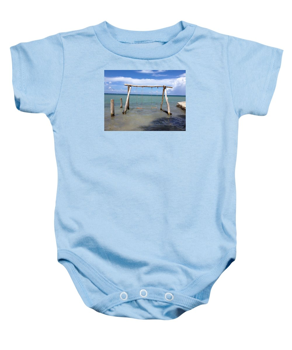 Swing Baby Onesie featuring the photograph Sea Swing by Jeff Harrell Jr