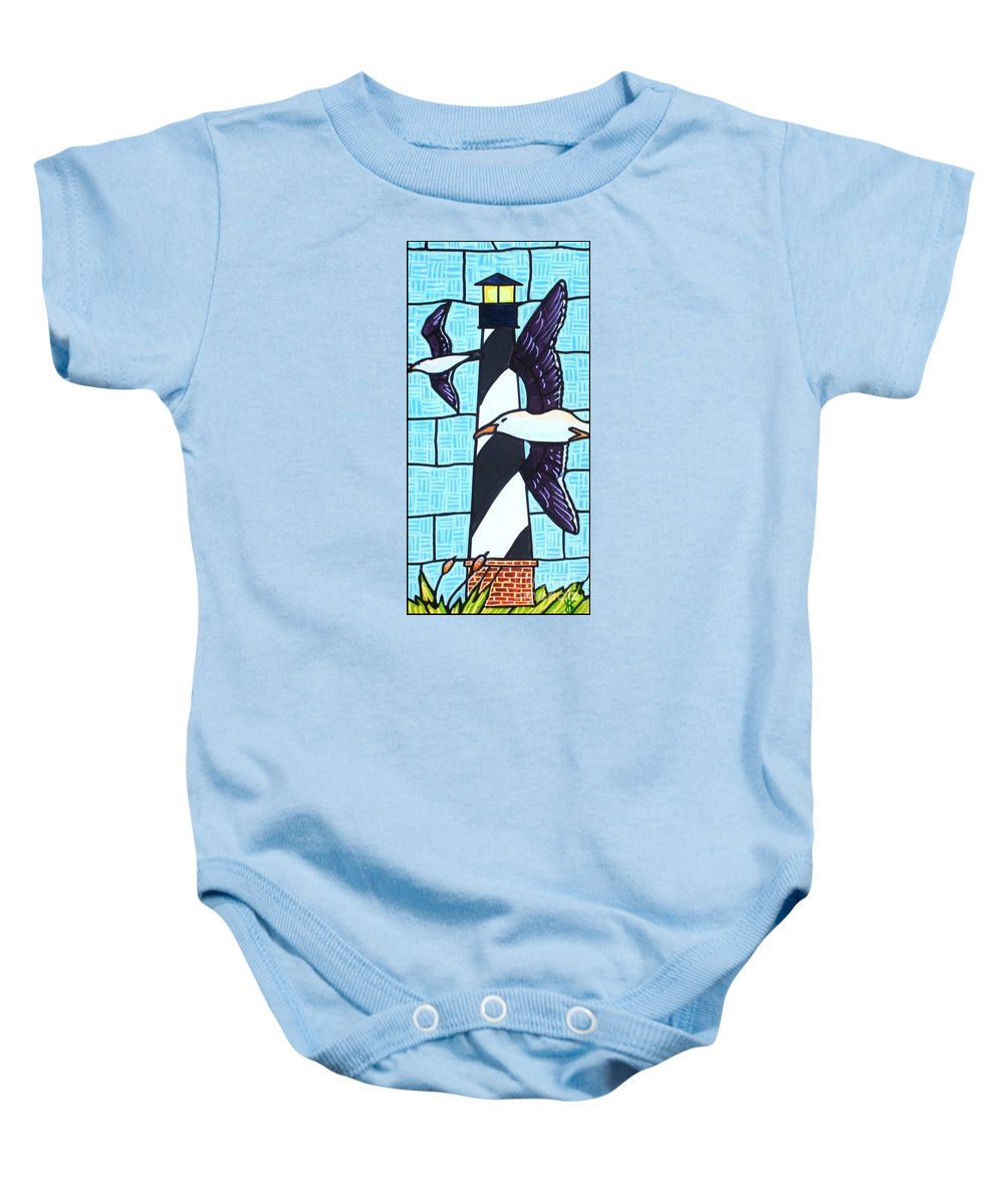 Seagulls Baby Onesie featuring the painting Seagulls And Lighthouse by Jim Harris