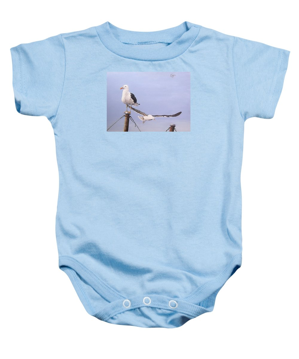 Seascape Gulls Bird Sea Baby Onesie featuring the painting Seagulls by Natalia Tejera