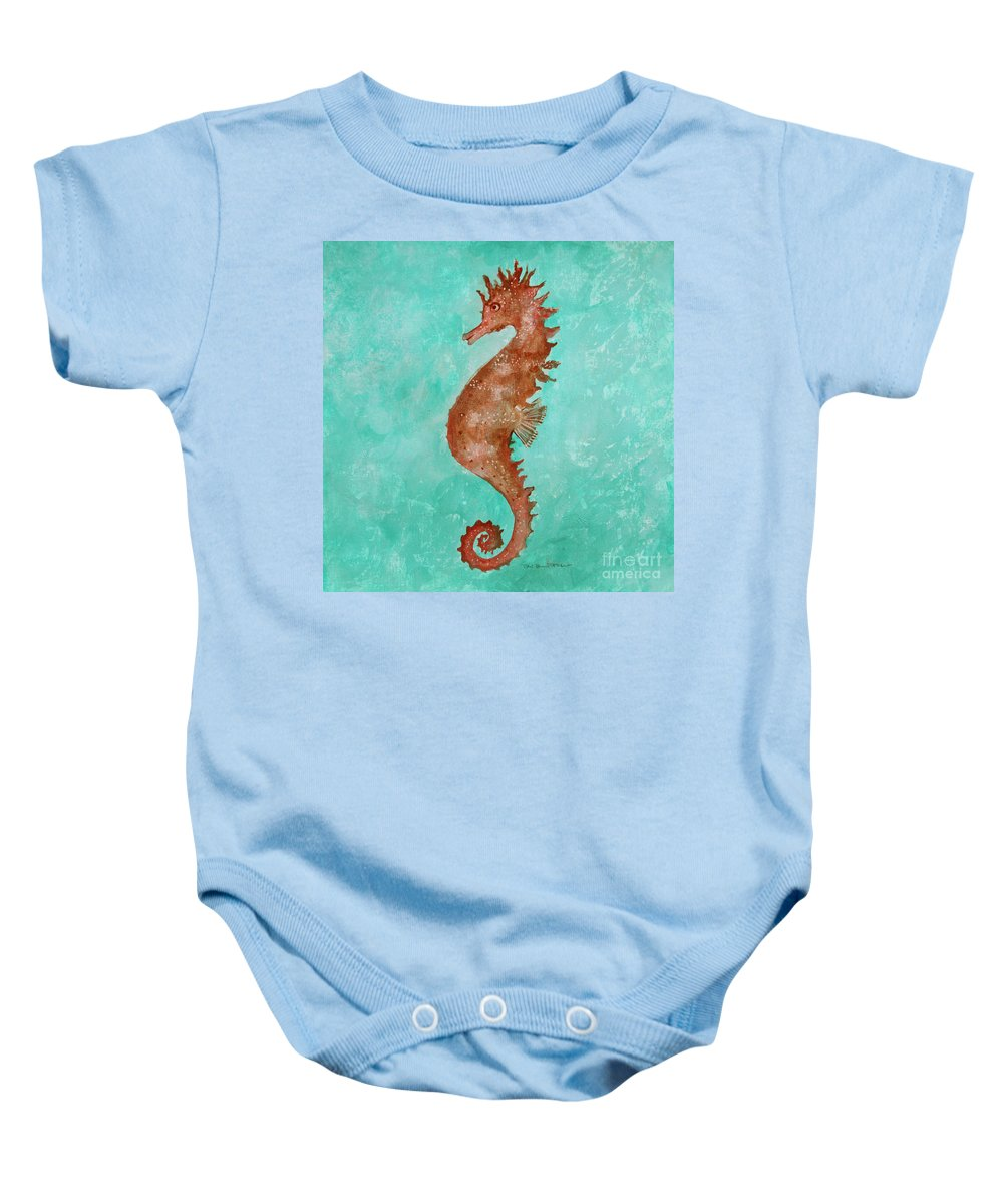 Seahorse Baby Onesie featuring the painting Seahorse by Robin Maria Pedrero