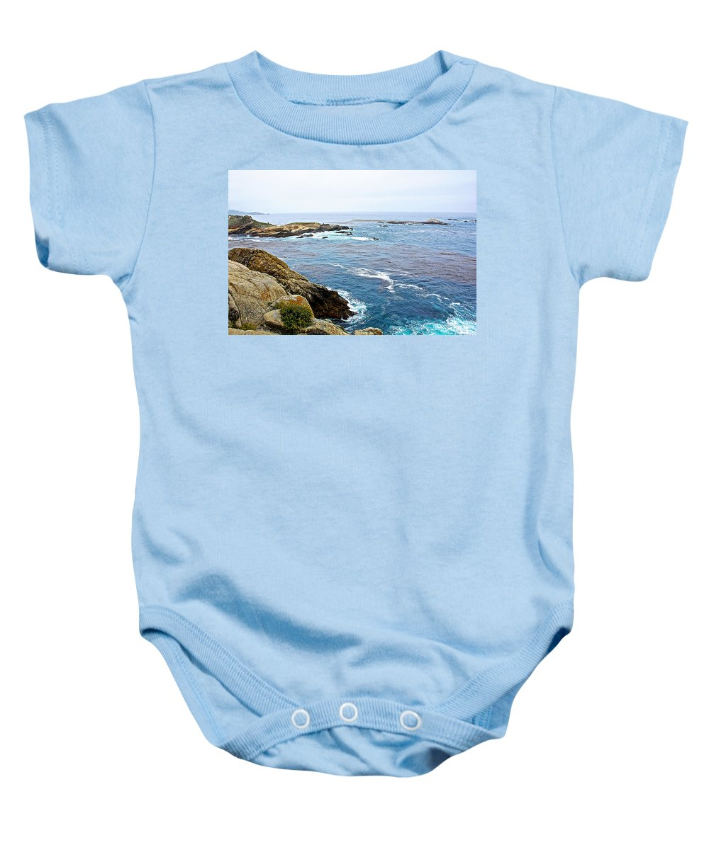 Seascape From Point Lobos State Reserve Near Monterey Baby Onesie featuring the photograph Seascape From Point Lobos State Reserve Near Monterey-california by Ruth Hager