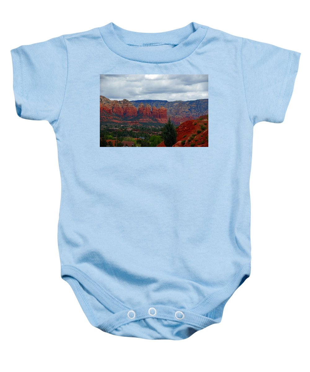 Photography Baby Onesie featuring the photograph Sedona Mountains by Susanne Van Hulst