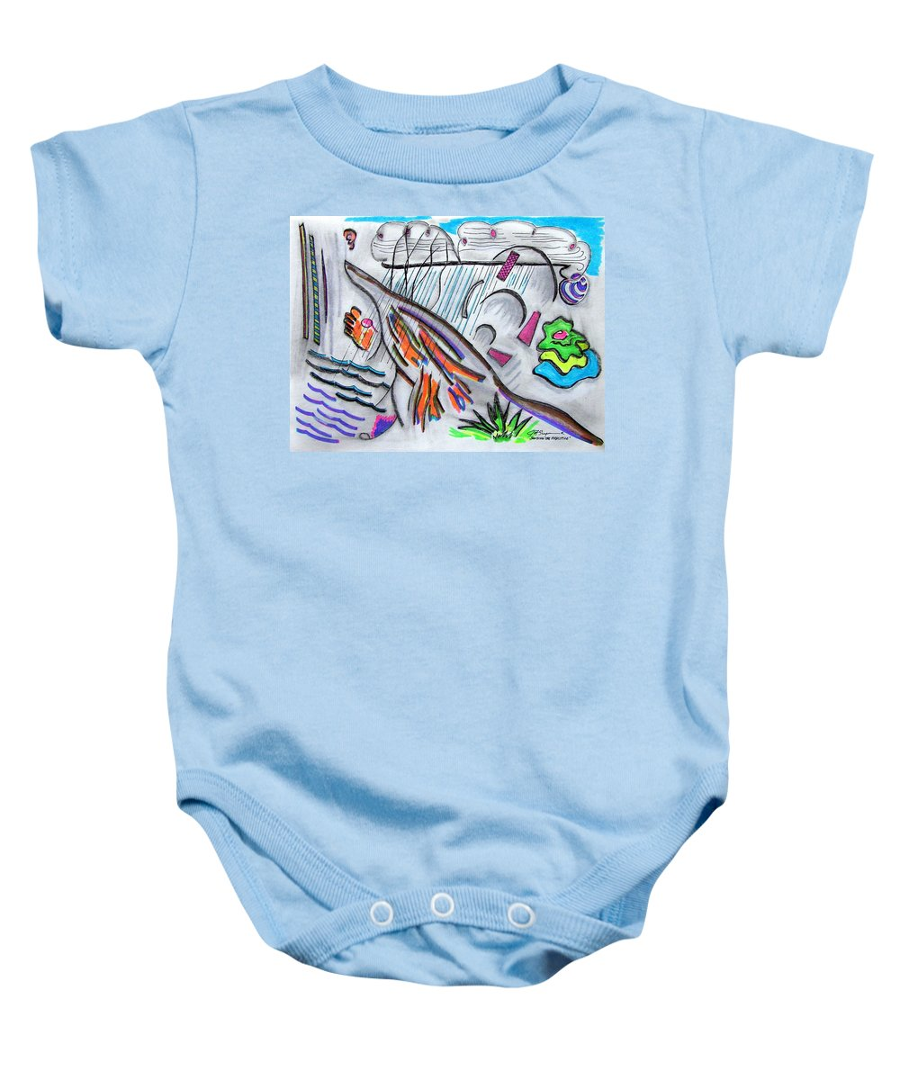 Abstract Drawing Baby Onesie featuring the drawing Sensing The Precipice by J R Seymour