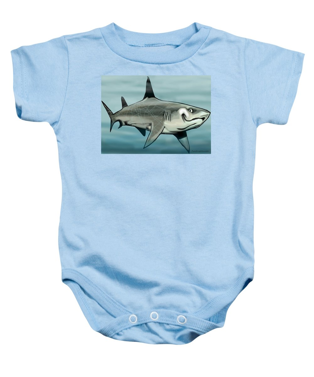 Shark Baby Onesie featuring the painting Shark by Kevin Middleton
