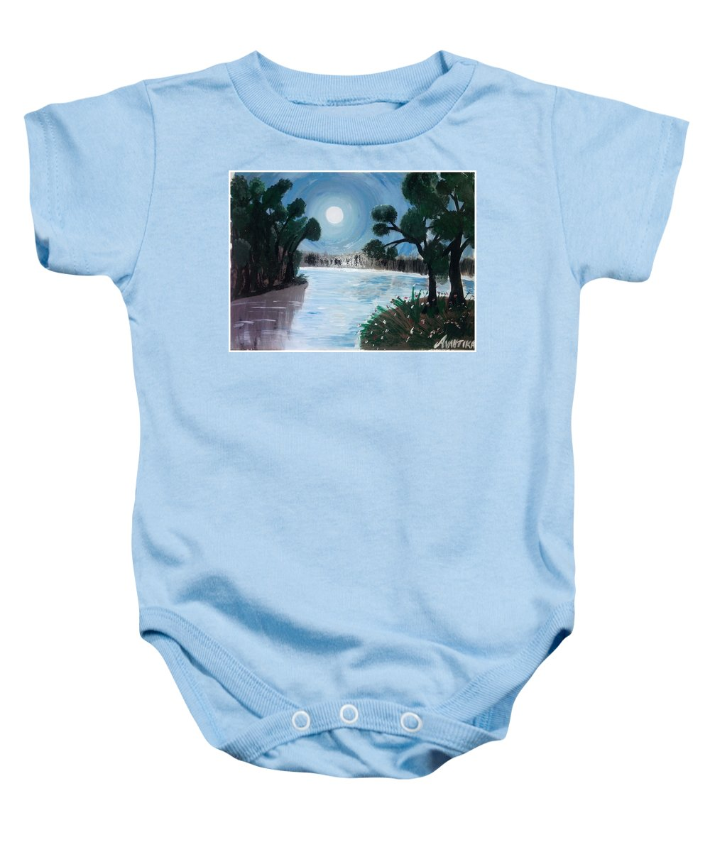 Landscape Baby Onesie featuring the painting Shining Water by Avantika Dixit