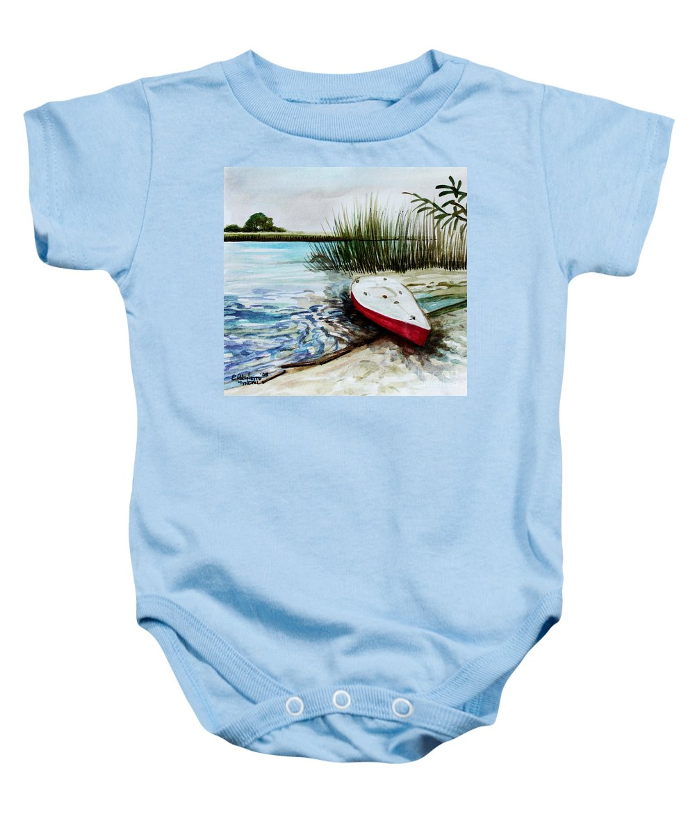 Landscape Baby Onesie featuring the painting Ship Ahoy by Elizabeth Robinette Tyndall