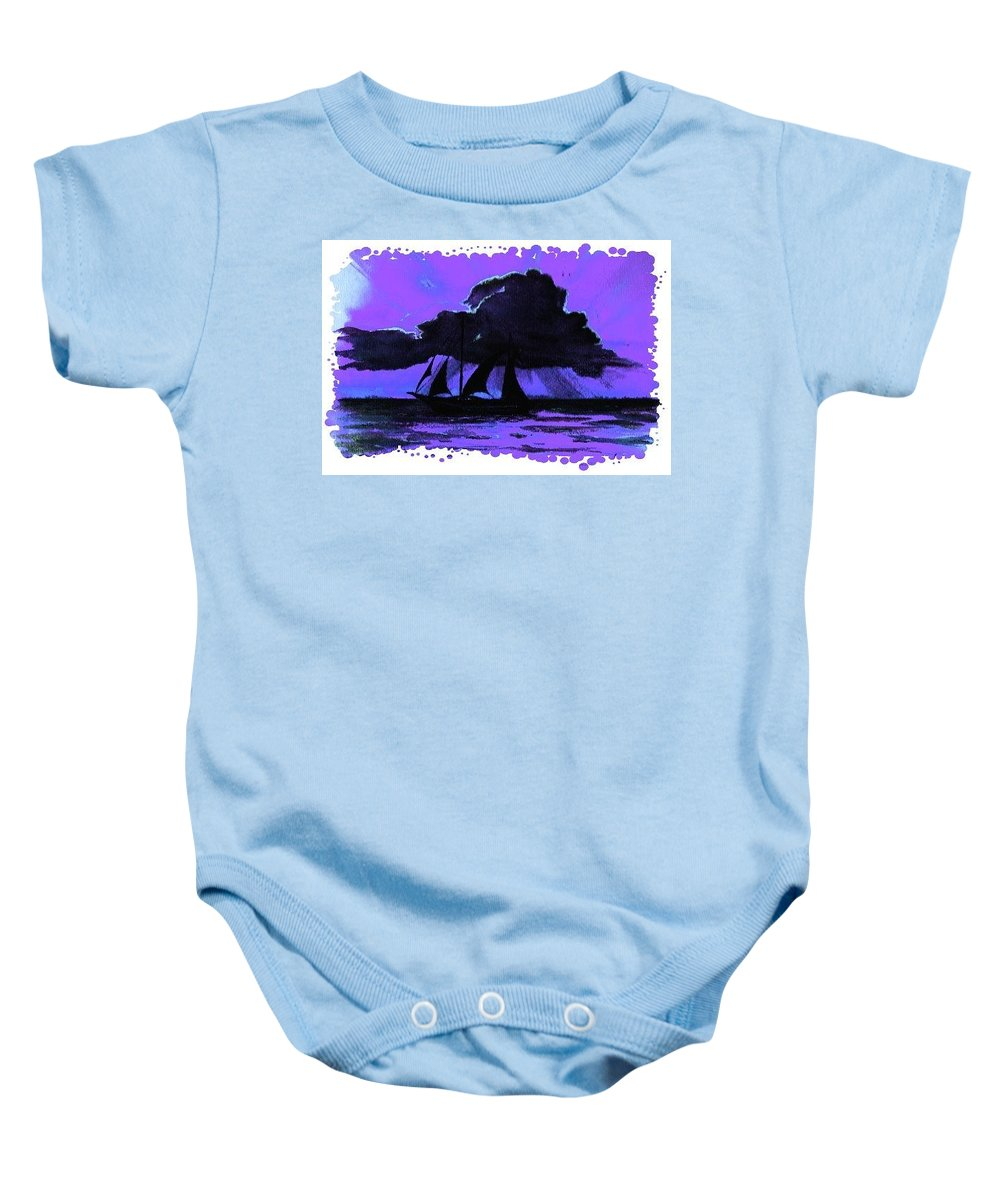 Blue Baby Onesie featuring the painting Shipset by Melody Horton Karandjeff