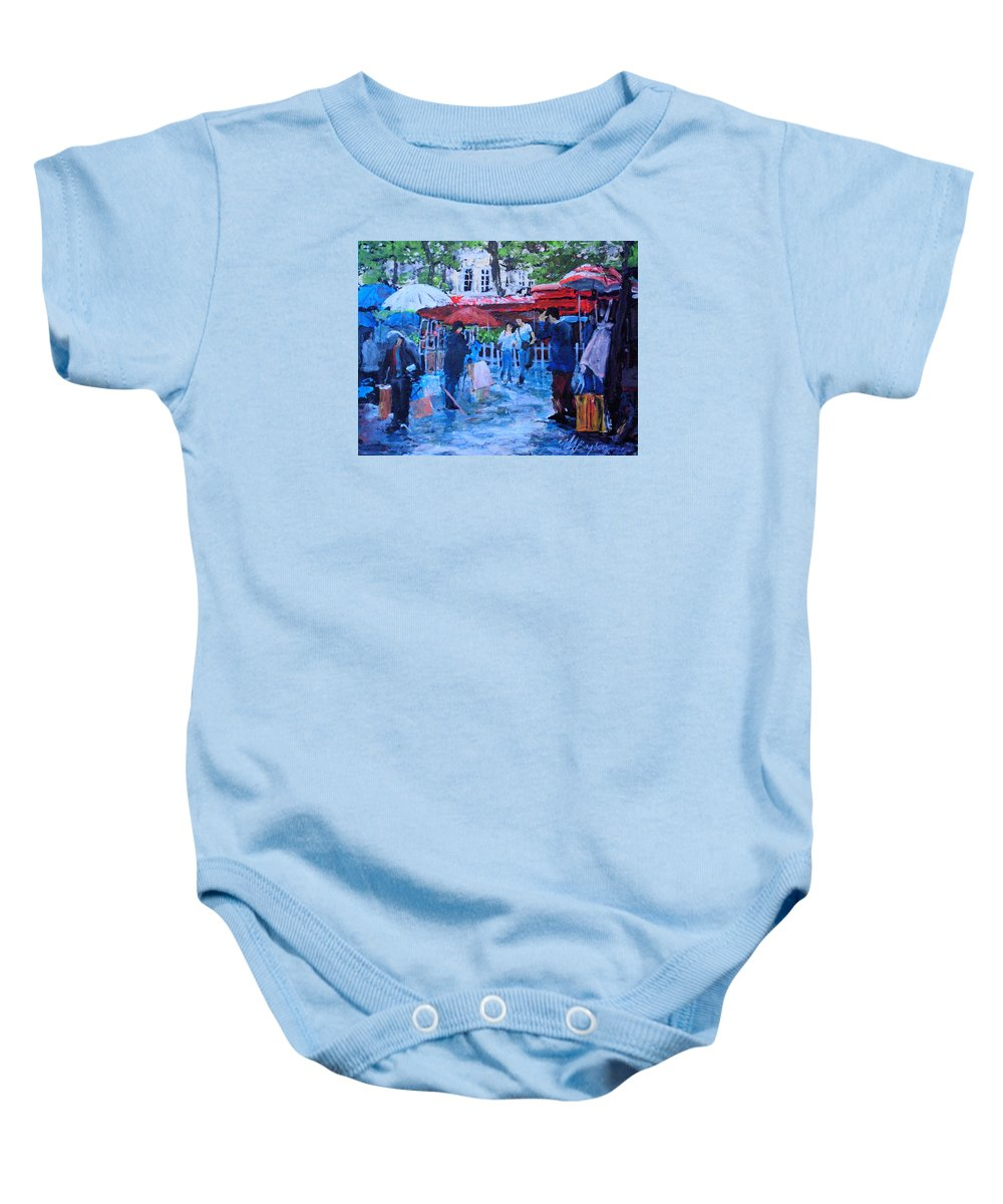 Montmartre Baby Onesie featuring the painting Shopping Montmartre by Maryann Boysen