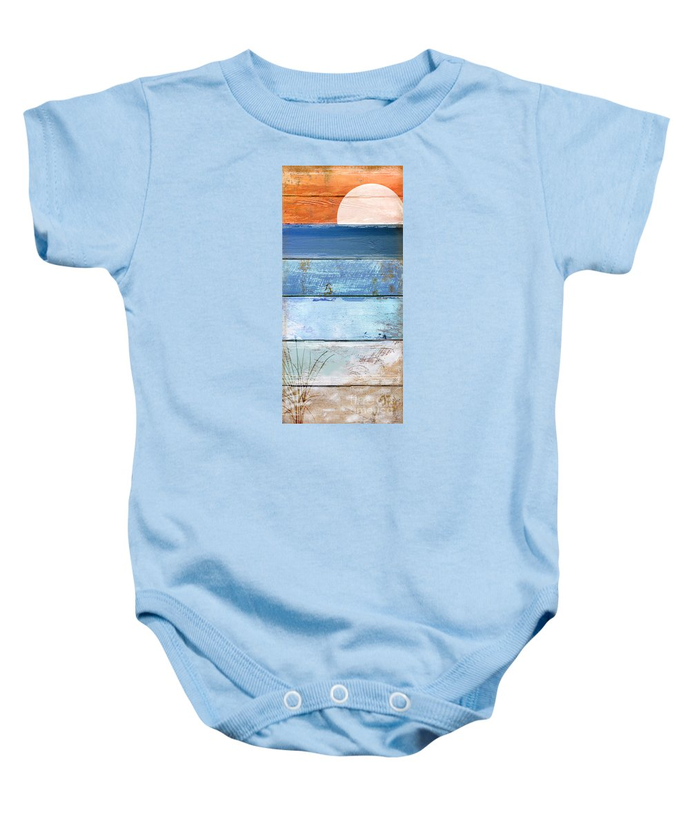 Beach Baby Onesie featuring the painting Shore And Sunset by Mindy Sommers