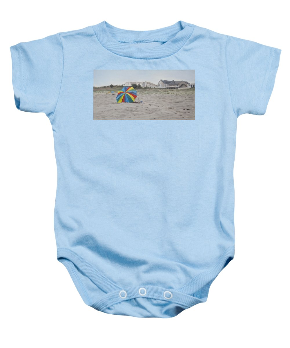 Beach Umbrella Baby Onesie featuring the painting Shore Dreams by Lea Novak