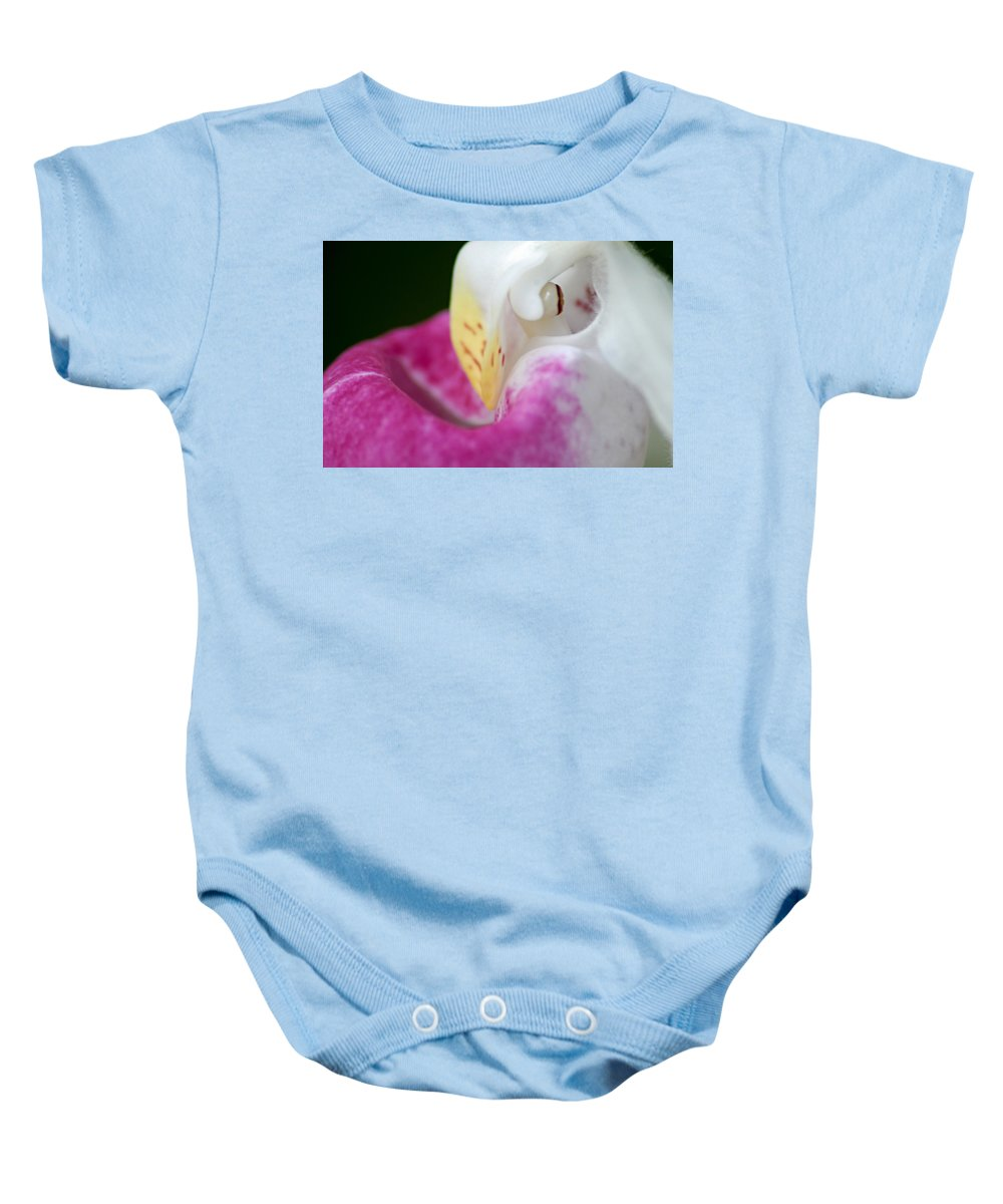 Showy Ladyslipper Baby Onesie featuring the photograph Showy Ladyslipper Up Close And Personal by Larry Ricker