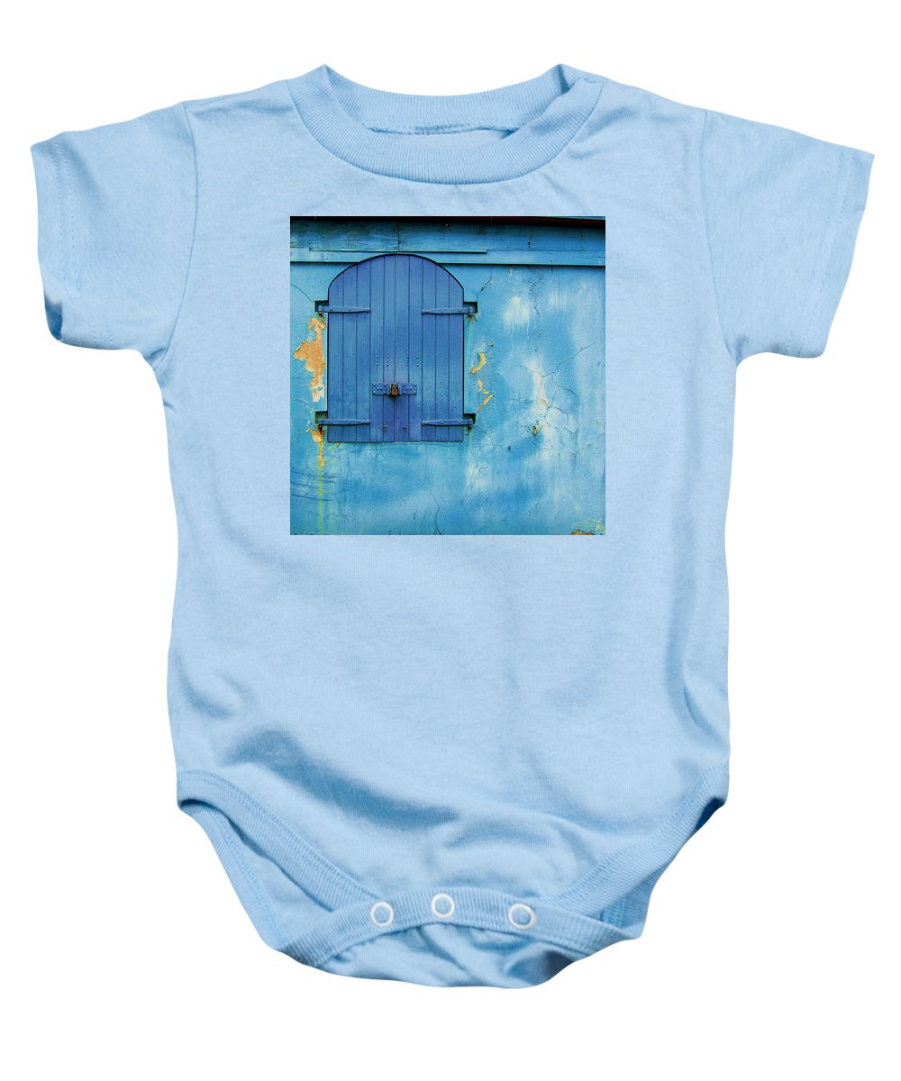 Shutter Baby Onesie featuring the photograph Shuttered Blue by Debbi Granruth
