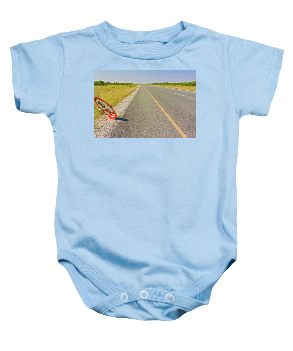 Landscape Baby Onesie featuring the photograph Sign On The Road by Marek Poplawski