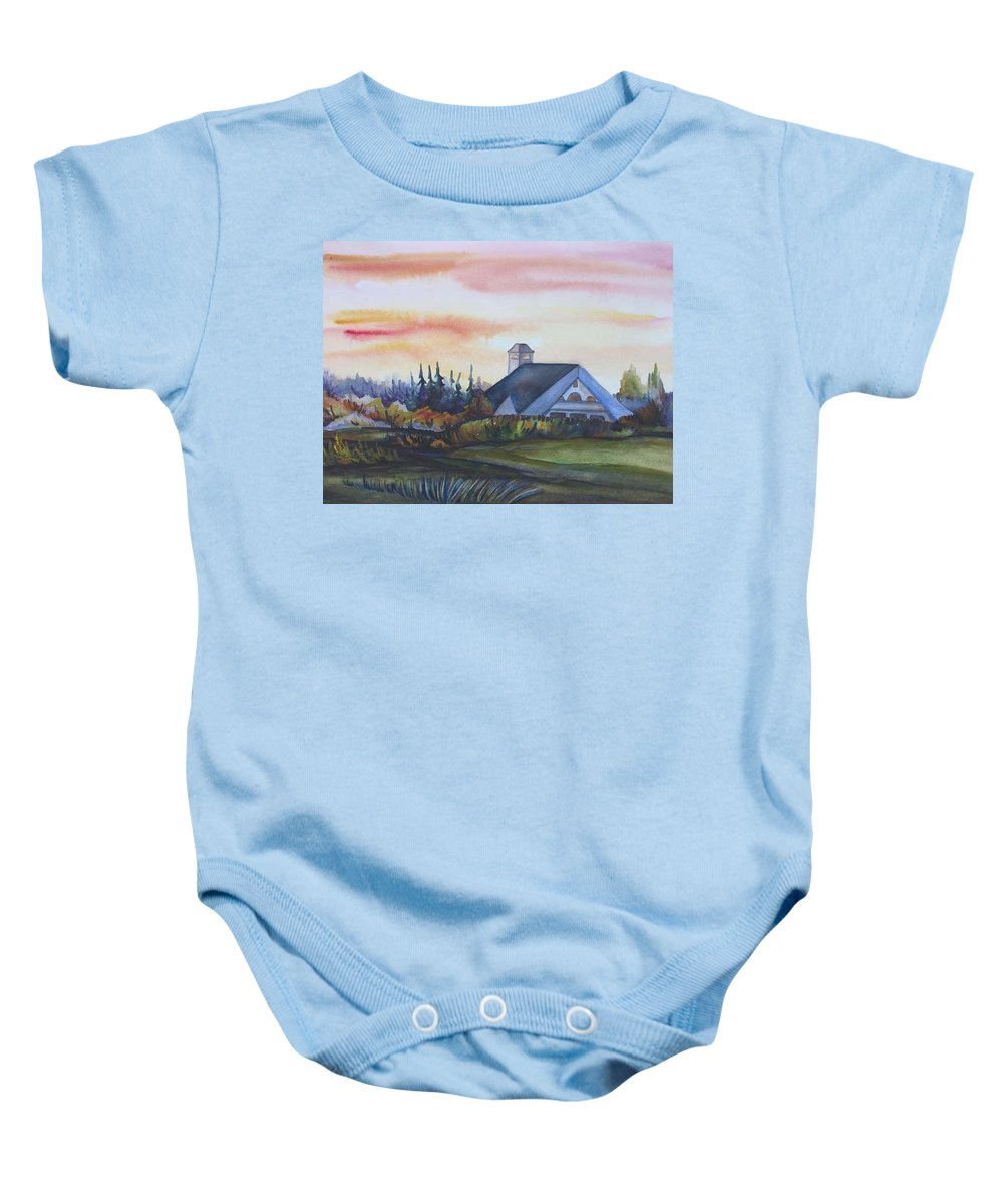 Watercolor Baby Onesie featuring the painting Silence Upon Midnapore by Anna Duyunova