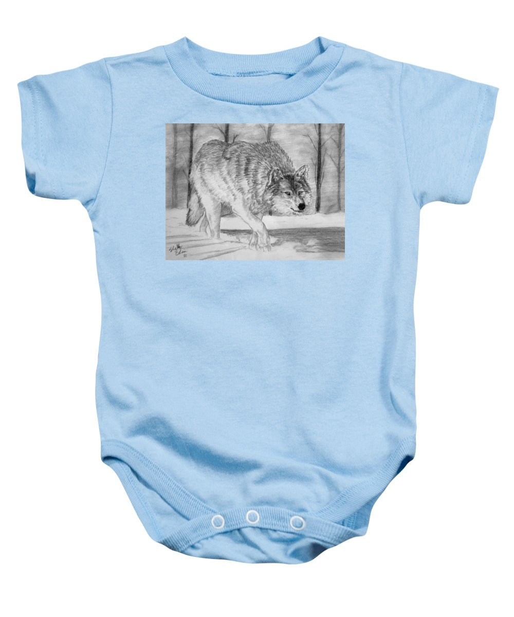 Wolf Baby Onesie featuring the drawing Silent Gait by Shelley Blair