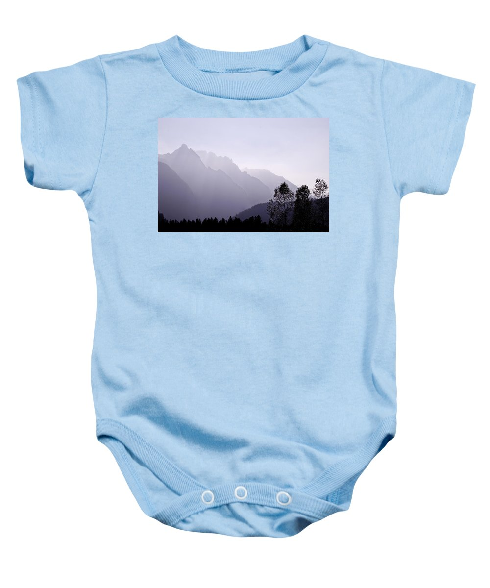 Mountain Silhouette Baby Onesie featuring the photograph Silhouette Austria Europe by Sabine Jacobs