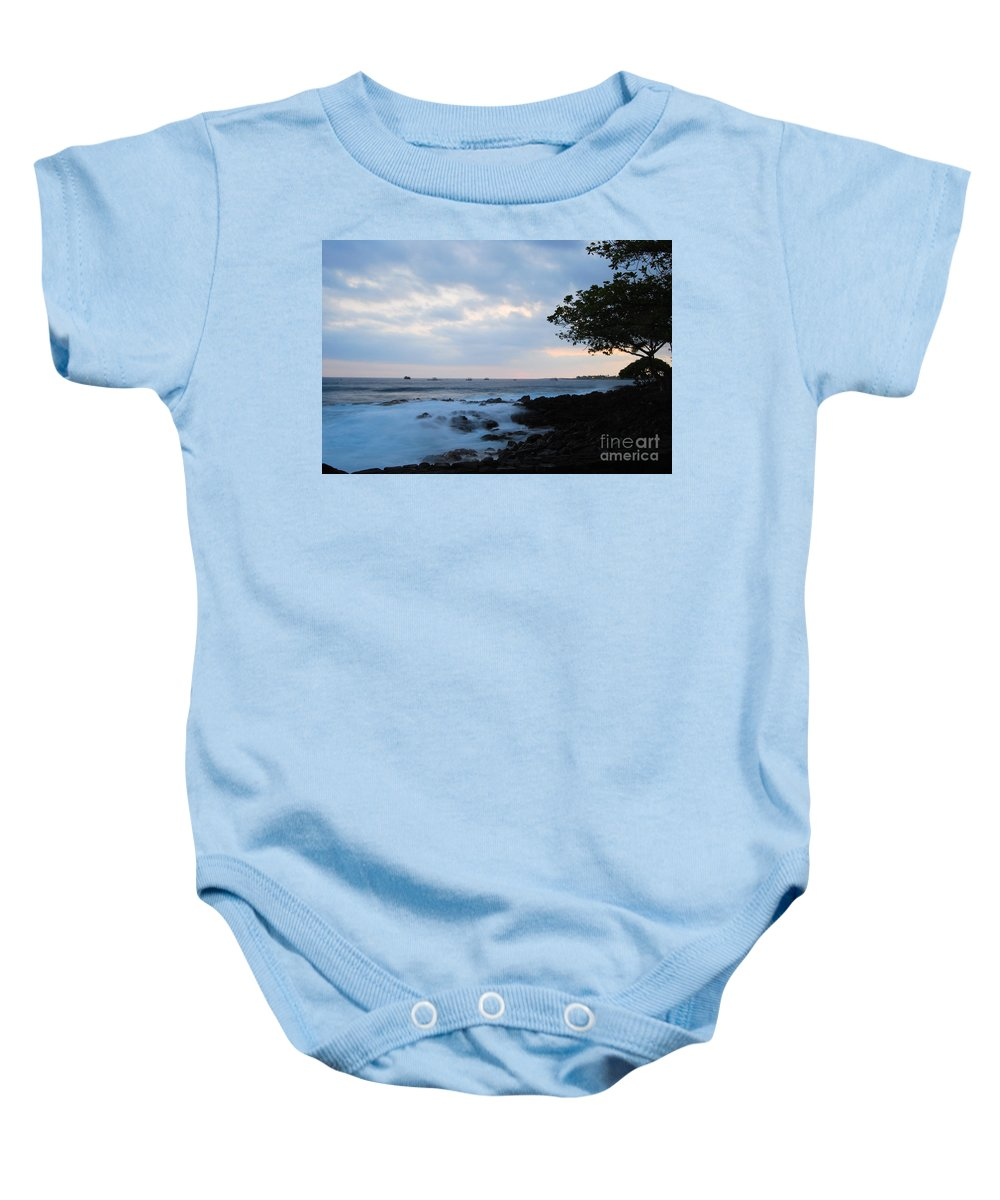 Nature Baby Onesie featuring the photograph Silky Waves At Dusk by Paulette B Wright