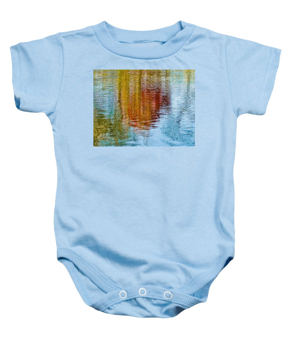 Silver Baby Onesie featuring the photograph Silver Lake Autumn Reflections by Michael Bessler