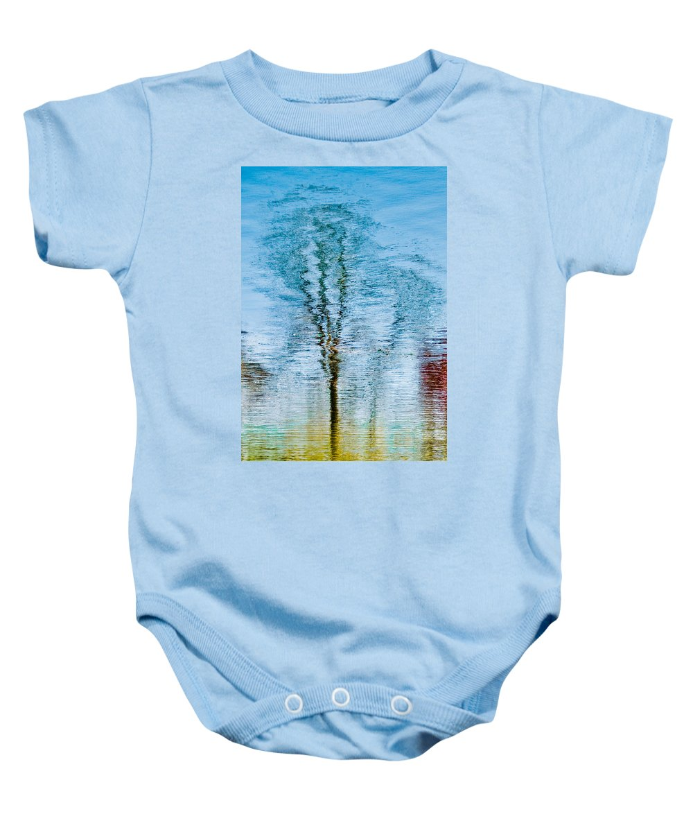 Silver Baby Onesie featuring the photograph Silver Lake Tree Reflection by Michael Bessler