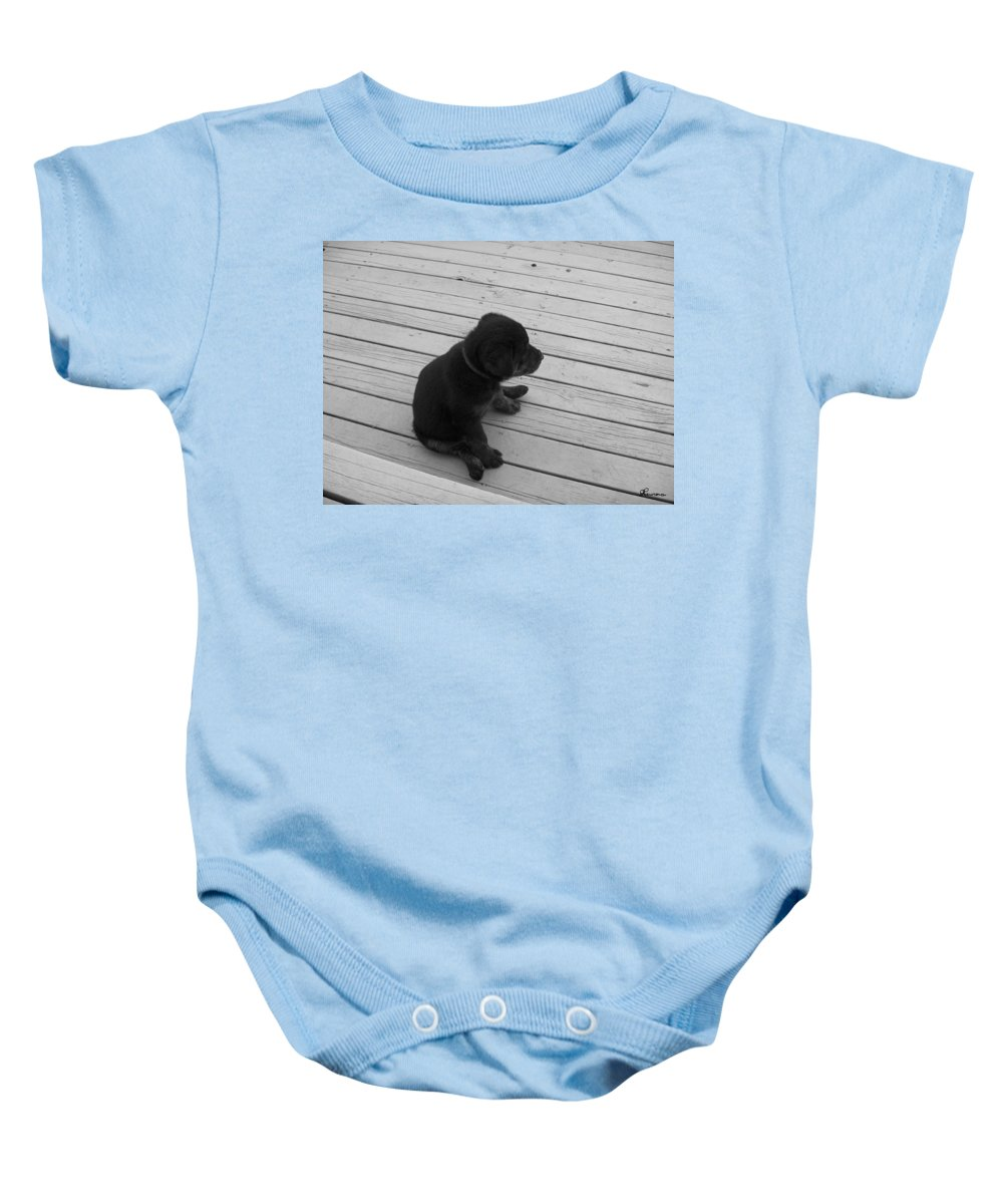 Puppy Dog Baby Relaxing Patience Black And White Photography Cute Baby Onesie featuring the photograph Sit And Think by Andrea Lawrence