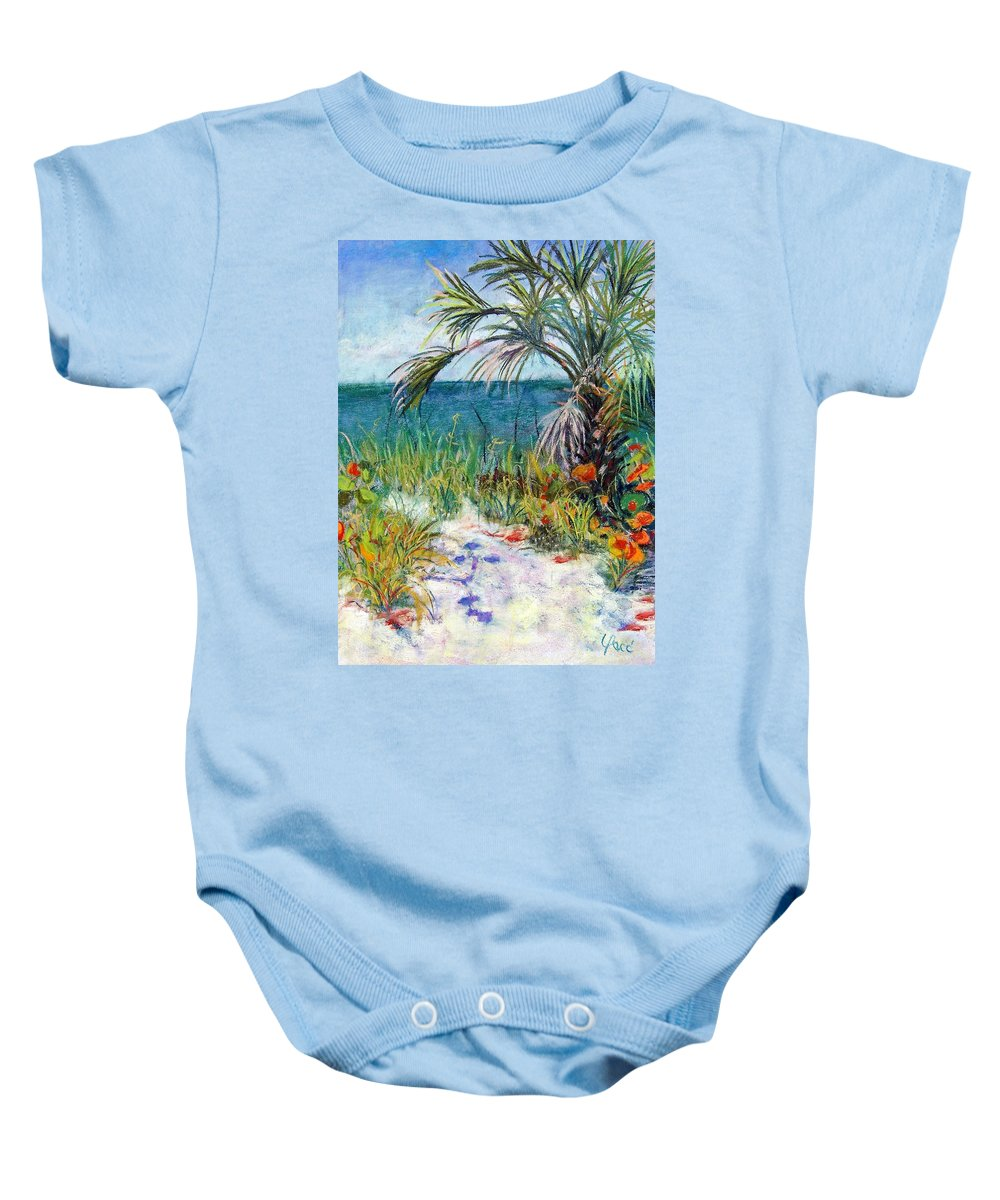 Wiggins Pass Baby Onesie featuring the painting Sitting At Wiggins Pass by Laurie Paci