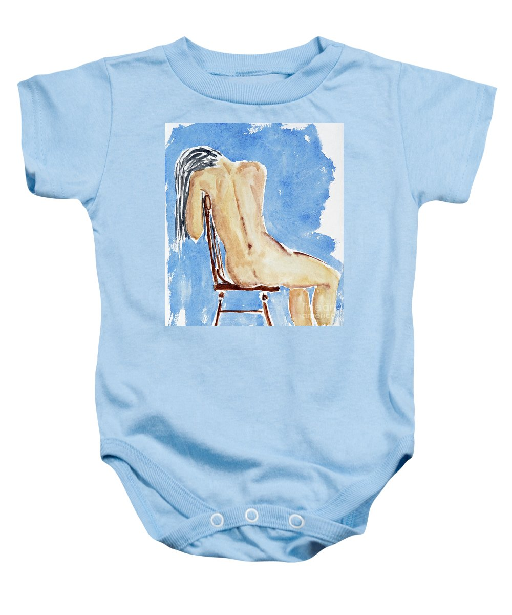 Girl Baby Onesie featuring the painting Sitting Girl by Michal Boubin