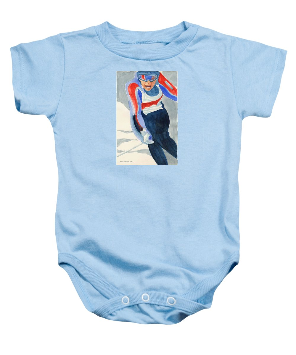 Skier Baby Onesie featuring the painting Skier by Fred Jinkins